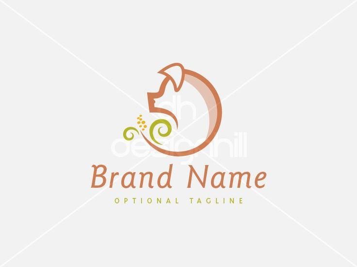 New logo design for sale on Design Hill - animal, green, circle, leaf, agriculture, food, farm, meal, circular, head, piggy, grow, spiral, ear, corn, pig, pork, meat, swine, hog, organic, butcher, logo, design, template,