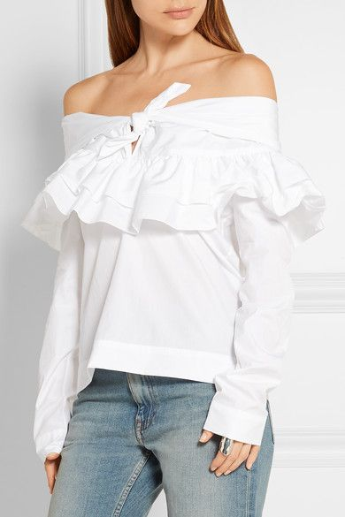 White cotton-poplin Slips on 100% cotton Dry clean Imported