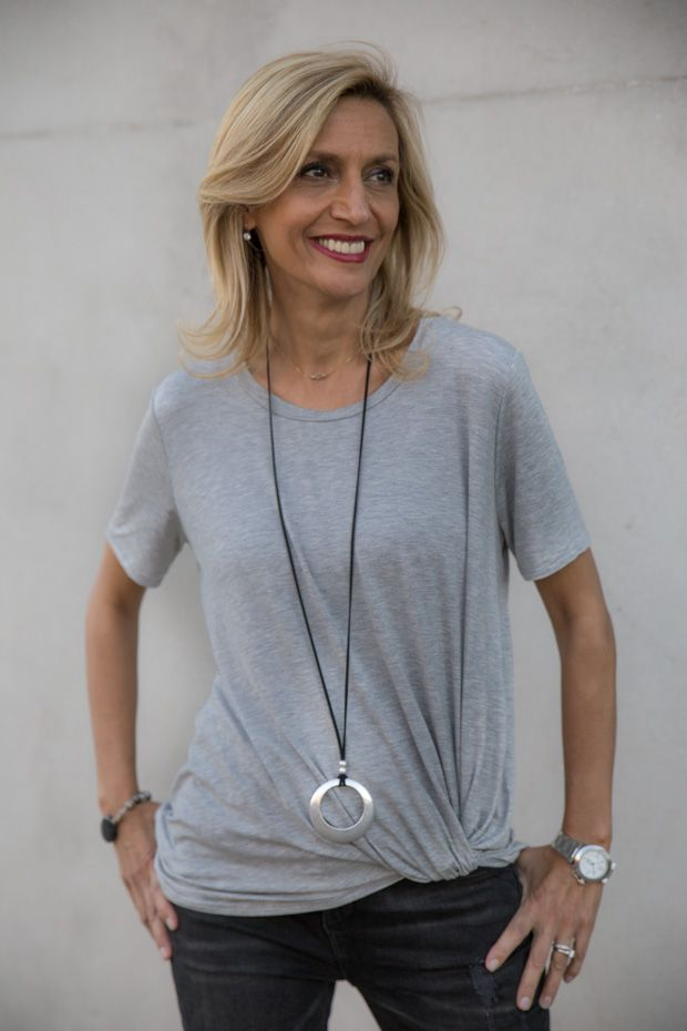 Check out our Heather Grey Side Twist Top and Black Suede Necklace with Silver Pendant featured on my blog and both available in our shop www.jacketsociety.com