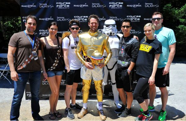 Todd Rey, Adrianne Curry, Chris Colfer, Alexis Denisof, Jared Eng, Jaime King and Kyle Newman attend the Course Of The Force 2013, an 'Epic Lightsaber Relay,' benefiting the Make-A-Wish Foundation, at 'Star Wars' creator George Lucas' Skywalker Ranch in California on July 9, 2013.