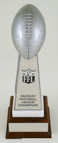 Fantasy Football Championship Trophy on Marble and Wood Base