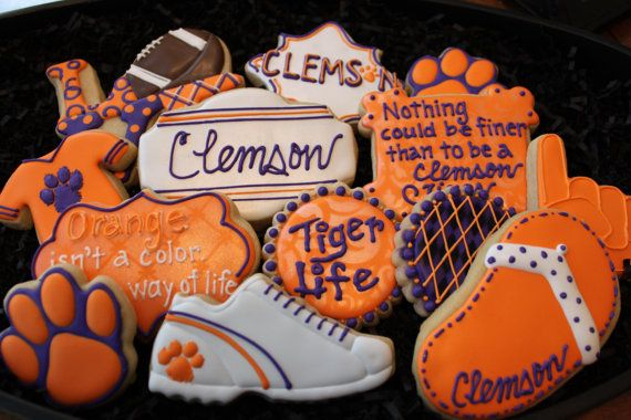 Clemson football cookies Clemson Tiger by 4theloveofcookies