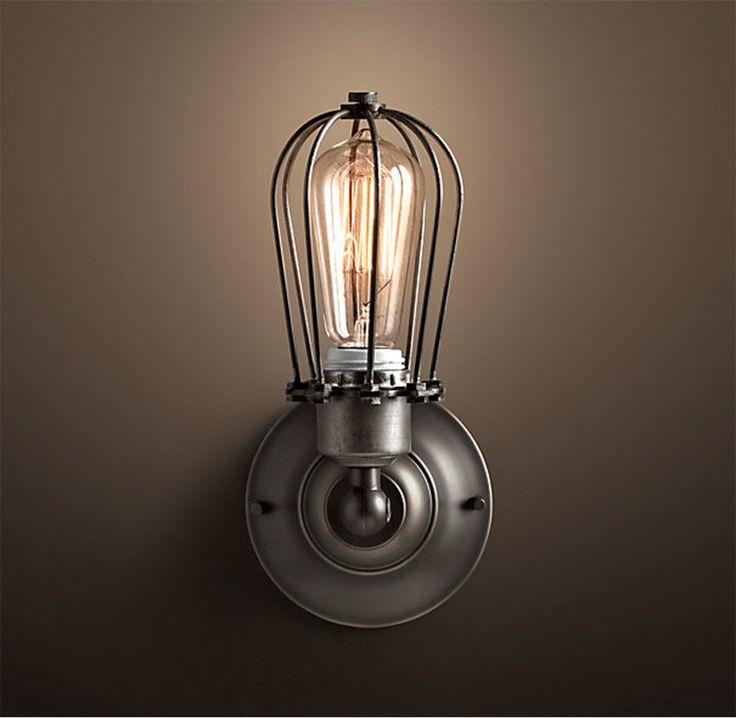 Antik Retro Vintage Käfig Lampe Wandleuchte inkl. 40W Edison Glühbirne in Möbel & Wohnen, Beleuchtung, Wandleuchten | eBay