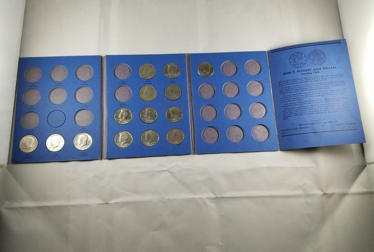 Vintage Antique Lot of 14 Kennedy Half Dollars in Collectors Book Nice Coins