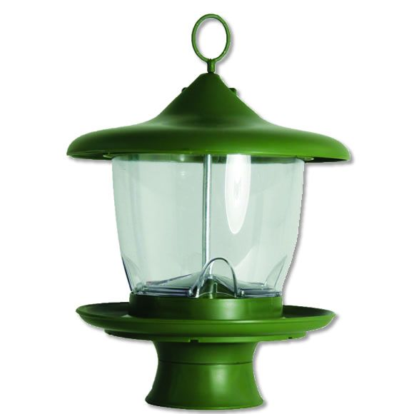 105-3  Adjusts to serve mixed or Nyjer thistle seed. Integrated retractable hanging cord to lower bird feeder for filling. Easy fill wide mouth top.