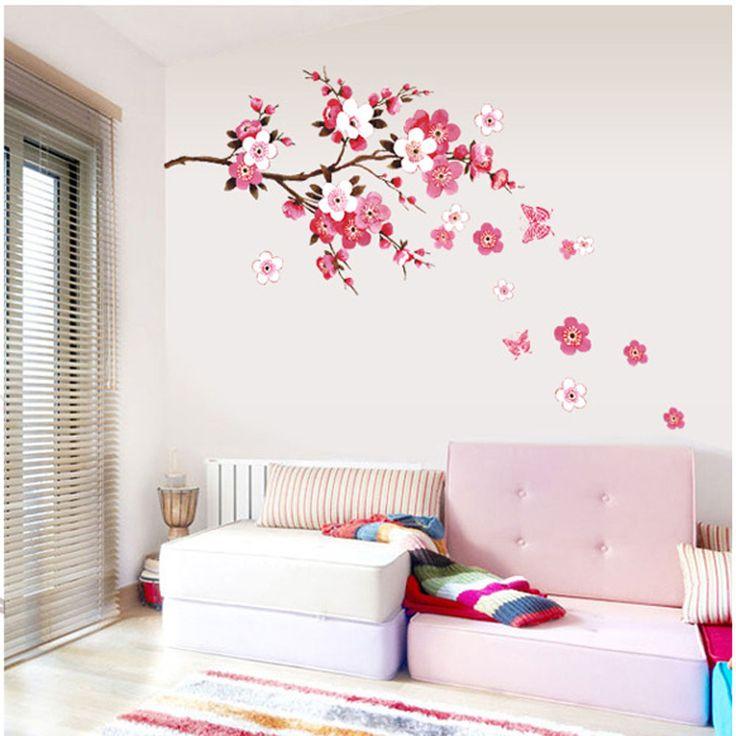 25 beste idee n over bloem muurschildering op pinterest - Beeld decoratie slaapkamer ...