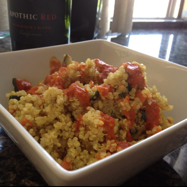 Curried Quinoa / Red Pepper Garlic Purée