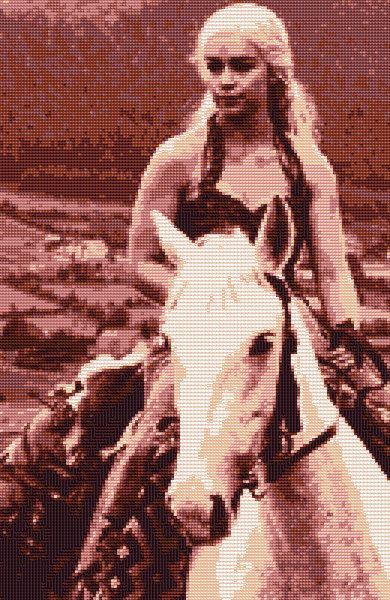 Daenerys on Horse Game of Thrones Cross by CrossStitchTreasury
