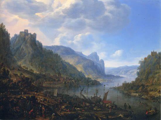 船着き場のあるライン川の風景 ヘルマン・サフトレーフェン(子)