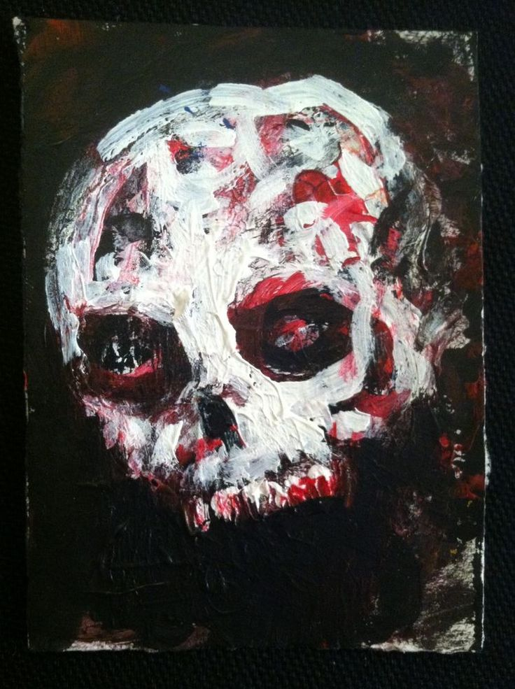 "Living Skull       abstract,   original art,ACEO  jack larson 3.5""x2.5"" #Abstract"