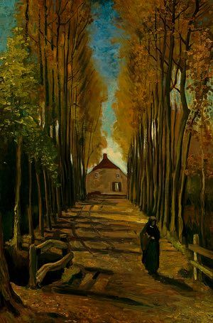 AUTUMN: Avenue of poplars in autumn (late October 1884) - Oil on canvas on wood panel. Neunen. Van Gogh's painting illustrates stanzas from a melancholic poem, Tristement ('sadly') by a French poet, François Coppée, which expresses a widow's grief. It is testament to the breadth of his interests that he would embrace contemporary French poetry as a source of inspiration for his art.  Photograph: Maurice Tromp/Van Gogh Museum, Amsterdam