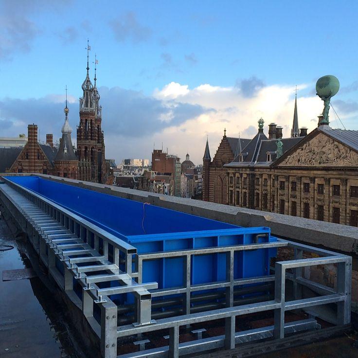 Rooftop zwembad HDPE op dak van een hotel te Amsterdam