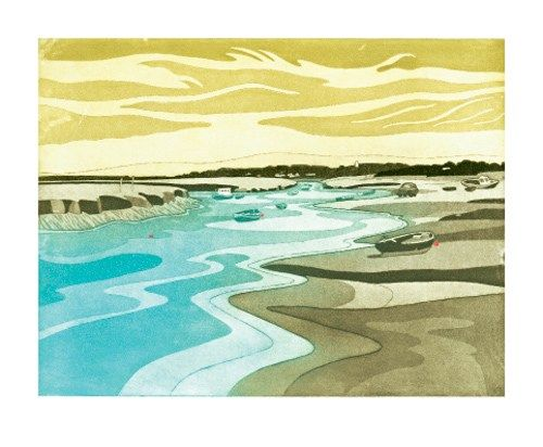 Morston Creek, etching, John Brunsdon