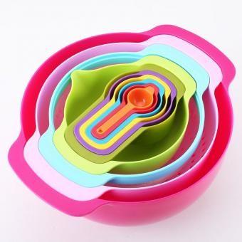 10 unids creativo de cocina de cocina cuencos plasitc tazones y tazas de medición multicolor
