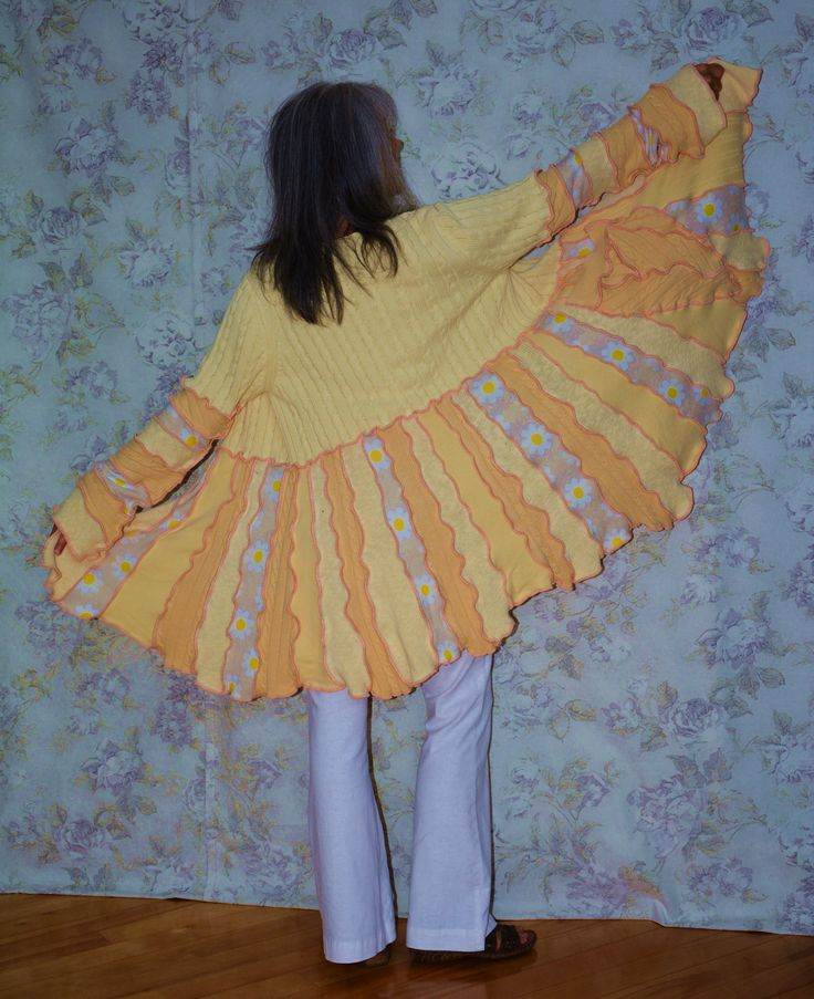 Creamy yellow Summer Sweater from upcycled cotton sweaters