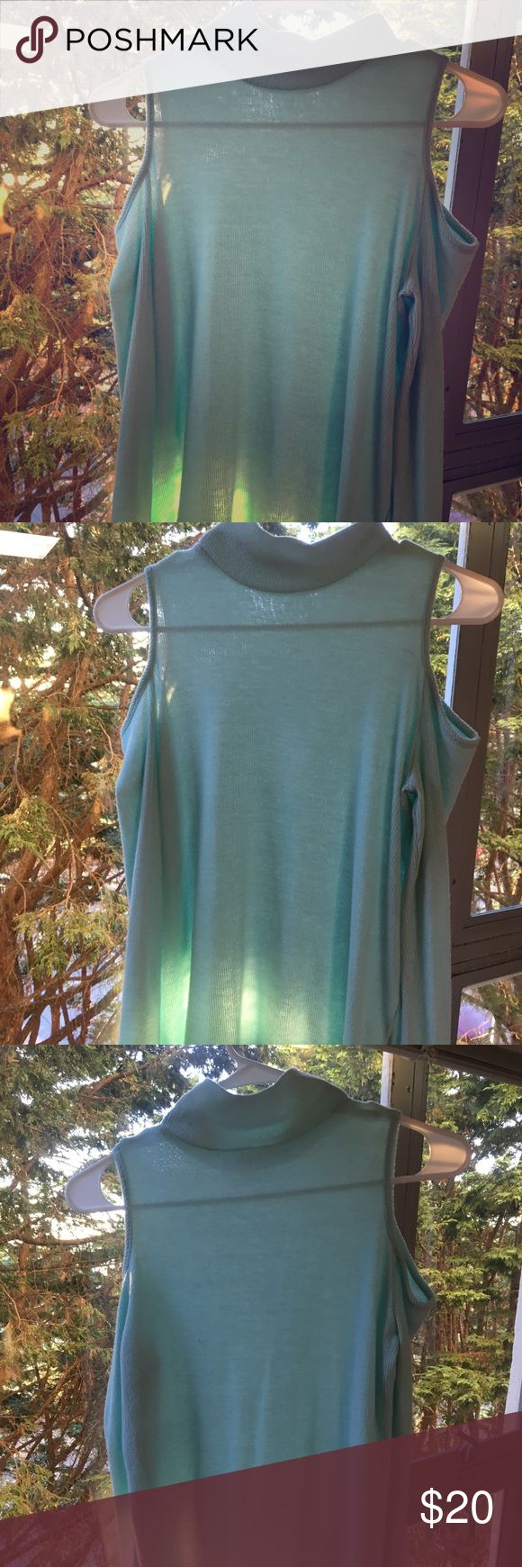 Off the Shoulder Sweater Turtle Neck from Von Maur Light Blue  Super soft & comfy  Can dress up or down Soprano Sweaters Cowl & Turtlenecks