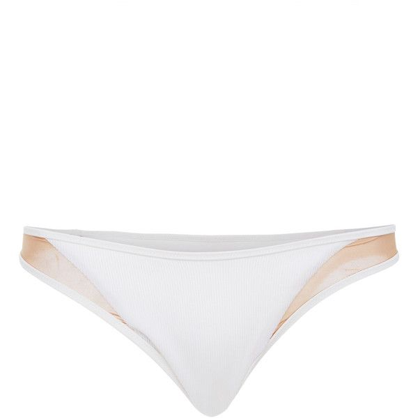 Tori Praver Manon High Leg Cheeky Bikini Bottom ($80) ❤ liked on Polyvore featuring swimwear, bikinis, bikini bottoms, white, bikini bottom swimwear, bottom bikini, white swimwear, low rise bikini and tori praver swimwear