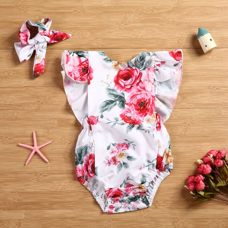 >> Click to Buy << 2pcs Baby Clothes Set for Girls 2017 New Fashion Romper Jumpsuit Flower Printed Romper Backless Jumpsuit with Headband for 0-24M #Affiliate