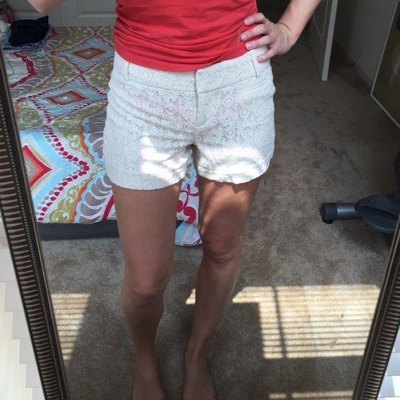 Cream lace shorts Cream lace shorts LOFT Shorts