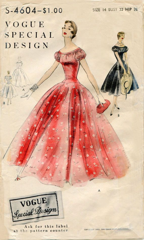 Vintage 1950s Gown and Cocktail Dress Pattern by FloradoraPresents, $43.00