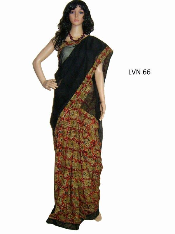 Chanderi saree with kalamkari patchwork