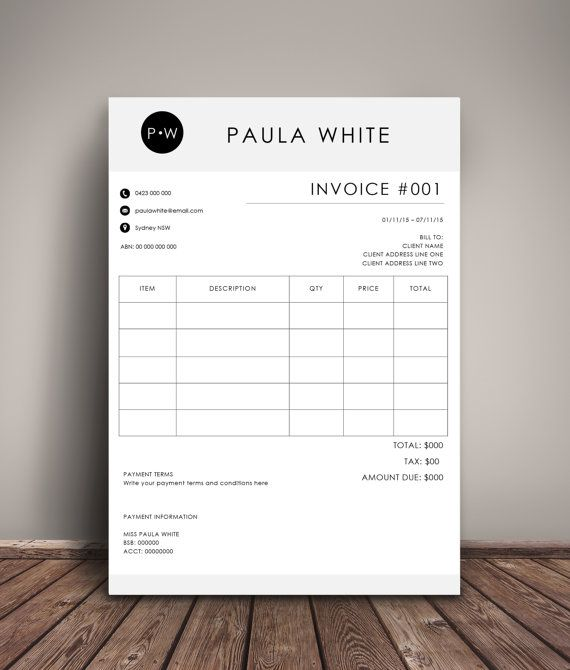 Sample billing invoice template