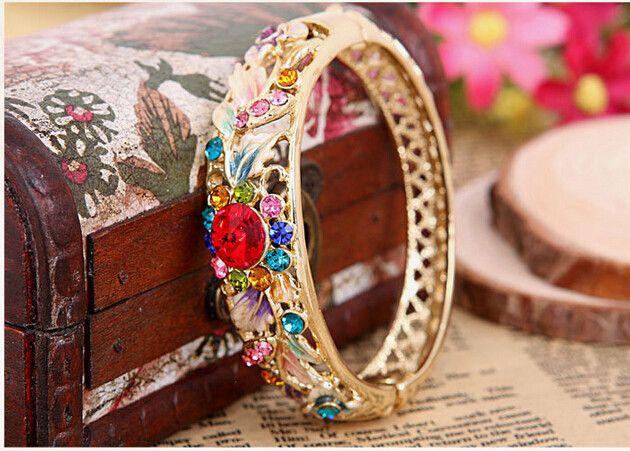 Женское винтажный позолота браслет ювелирные изделия аксессуары горный хрусталь клуазонне браслет браслеты 5.8 см