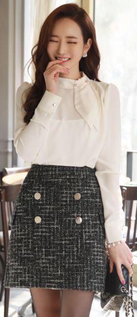 StyleOnme_Double-Breasted Button Wool Blend Skirt #wool #skirt #cute #koreanfashion #kstyle #kfashion #wintertrend #datelook