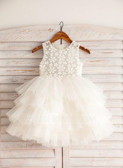 [US$ 54.19] Empire Knee-length Flower Girl Dress - Satin/Lace/Cotton Sleeveless Scoop Neck (010092642)