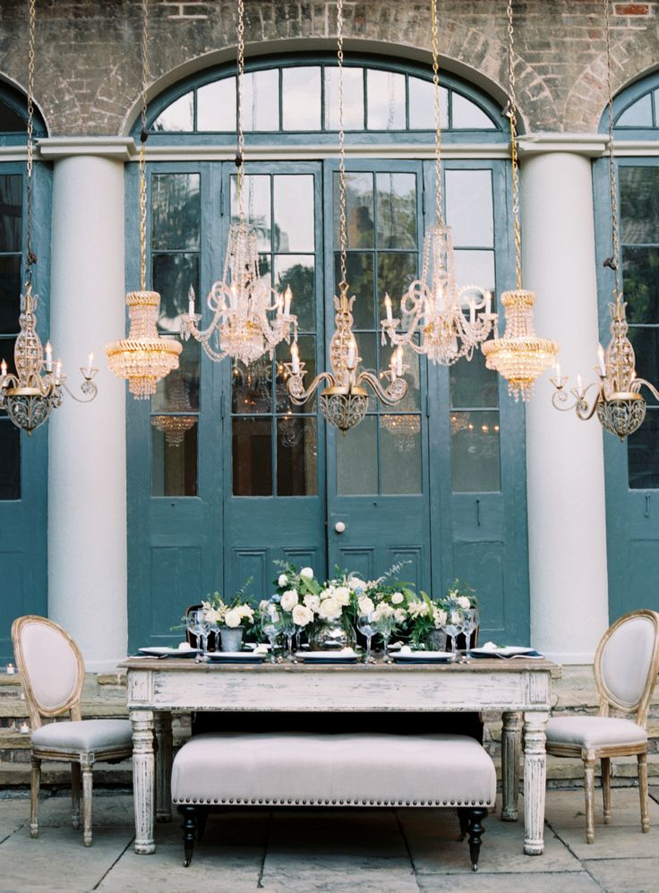 Dreamy blue and gray wedding table decor: Photography: Austin Gros - austingros.com   Read More on SMP: http://www.stylemepretty.com/2017/03/06/dreamy-new-orleans-inspiration-shoot/