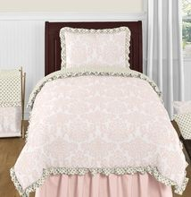 Blush Pink, Gold and White Amelia 4pc Twin Girls Bedding Set by Sweet Jojo Designs
