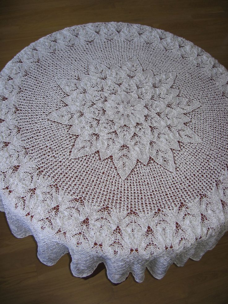 Knitting Pattern of the Day | Lace tablecloth made using knitting needles. 1536×2048 img src