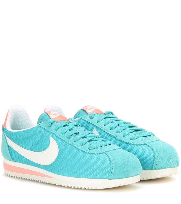 Classic Cortez turquoise and coral sneakers