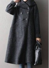 Button Closure Grey Long Sleeve Swing Coat  on sale only US$38.33 now, buy cheap Button Closure Grey Long Sleeve Swing Coat  at liligal.com