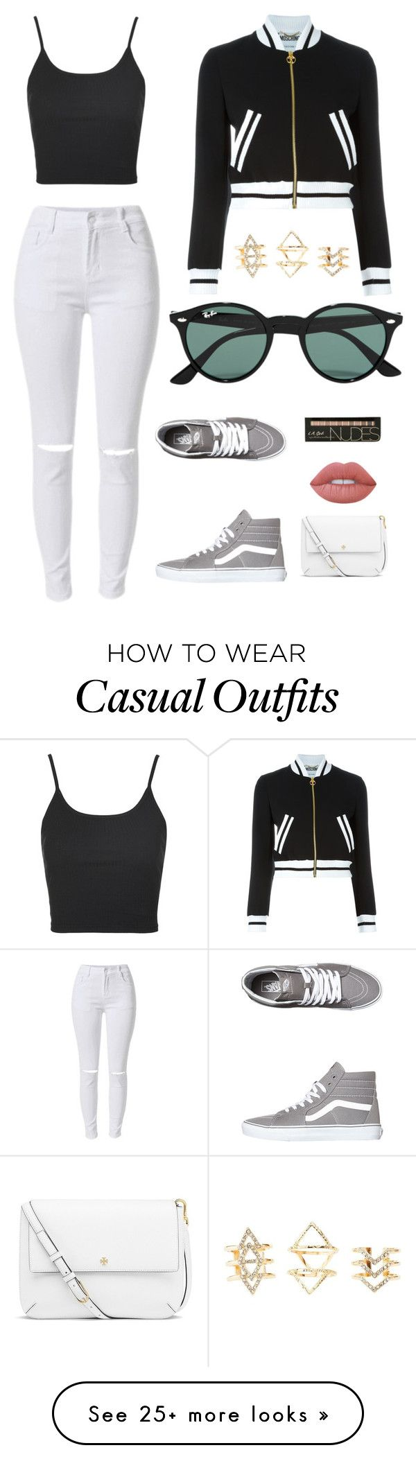 """""""Casual"""" by watermelon347 on Polyvore featuring Moschino, Topshop, Vans, Ray-Ban, Tory Burch, Lime Crime, Charlotte Russe, blackandwhite, casualoutfit and CasualChic"""