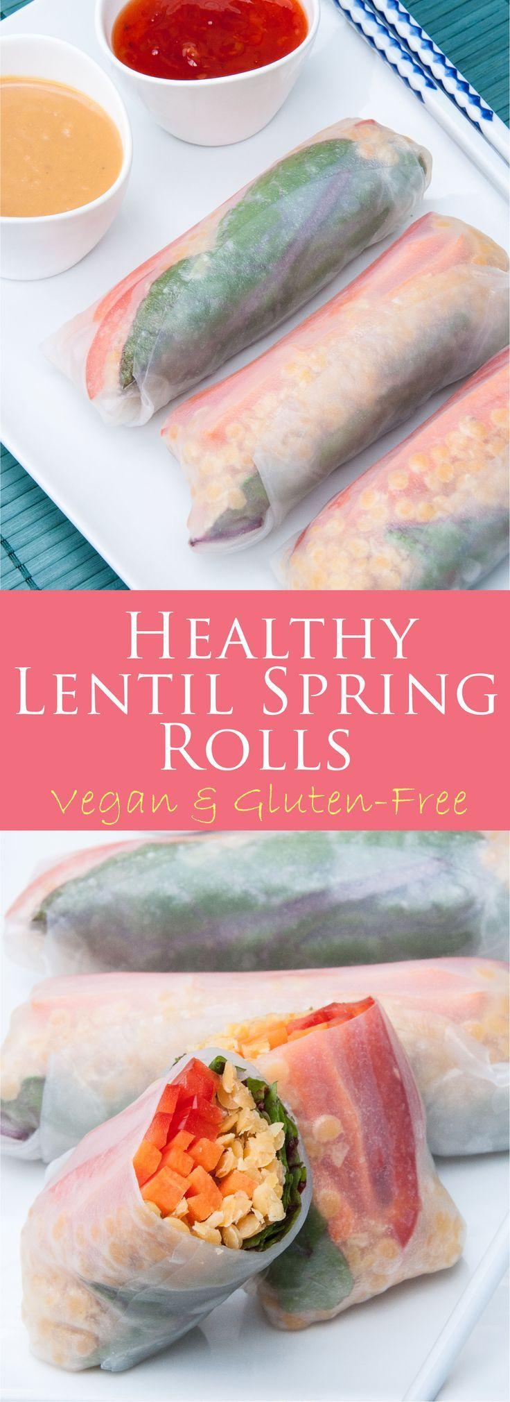 healthy red lentil spring rolls | vegan, vegetarian, clean-eating, gluten-free, appetizer, rice paper