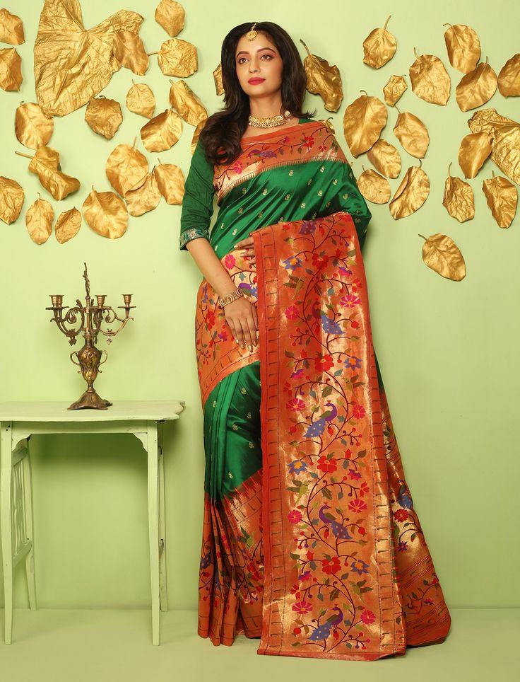 Radhabai Blooming Spring Paper Gold Border Pallu Sovereign Real Zari Double Turning Paithani Silk Saree