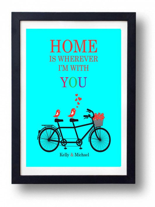FRAMED Art Wedding Sign (Home is wherever I'm with You) First paper Wedding Anniversary Gift for Couple or Husband/ Housewarming Gift on Etsy, $30.00