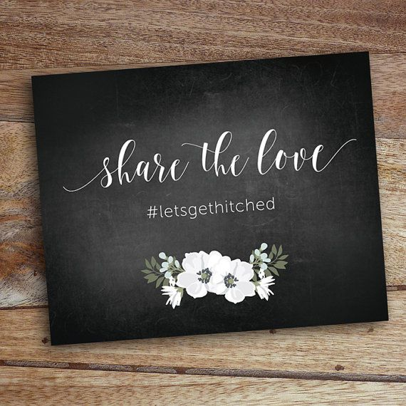 Wedding Instagram Sign Chalkboard Printable by WhiteWillowPaper