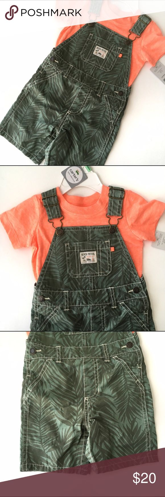 NWT Carter's Overall Tee Set NWT Carter's Boys overalls with a palm tree pattern, lightweight material with bright orange tee shirt. Matching Sets