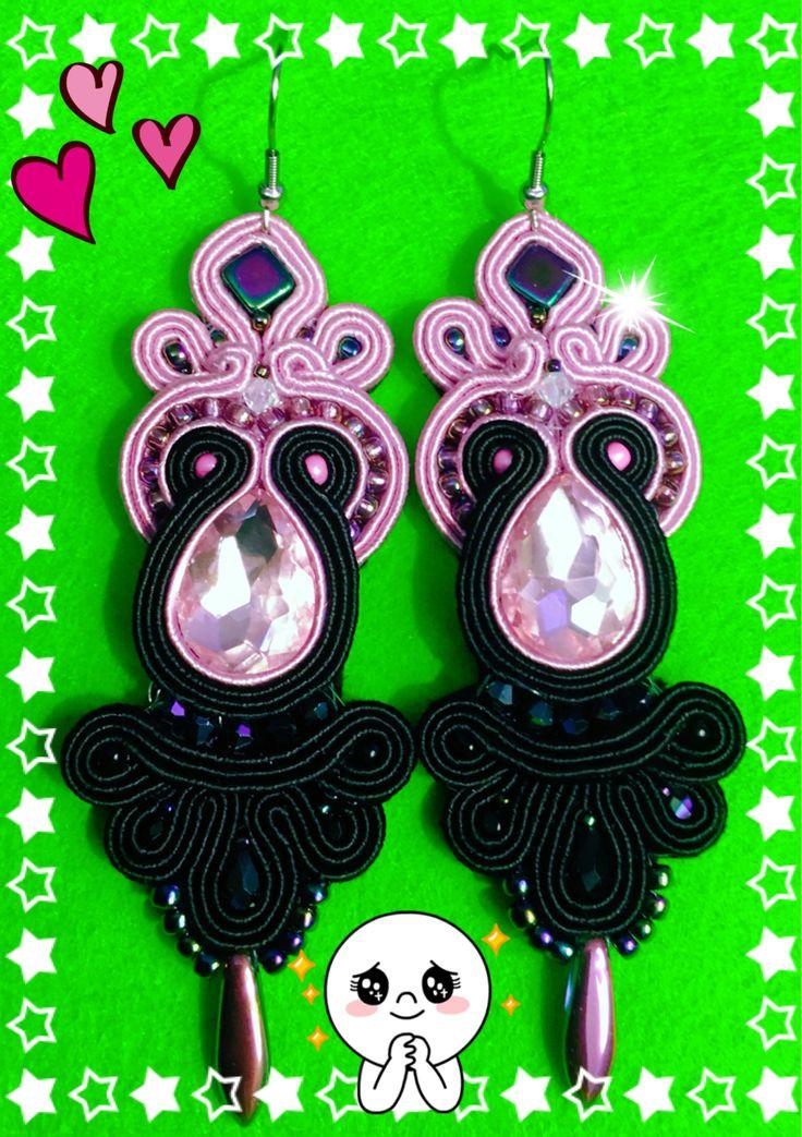 Soutache earrings rękodzieło pink & Black