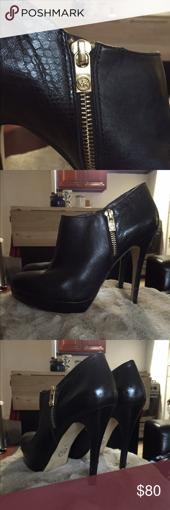 Michael Kors Black Leather Bootie Black leather Bootie. Low ankle. Good condition! 4 inch heel with small platform. Love these to death! Michael Kors Shoes Ankle Boots & Booties