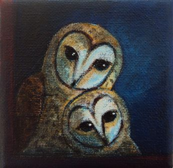 2017, Barn owls, acrylic on canvas by Angela Kuckartz