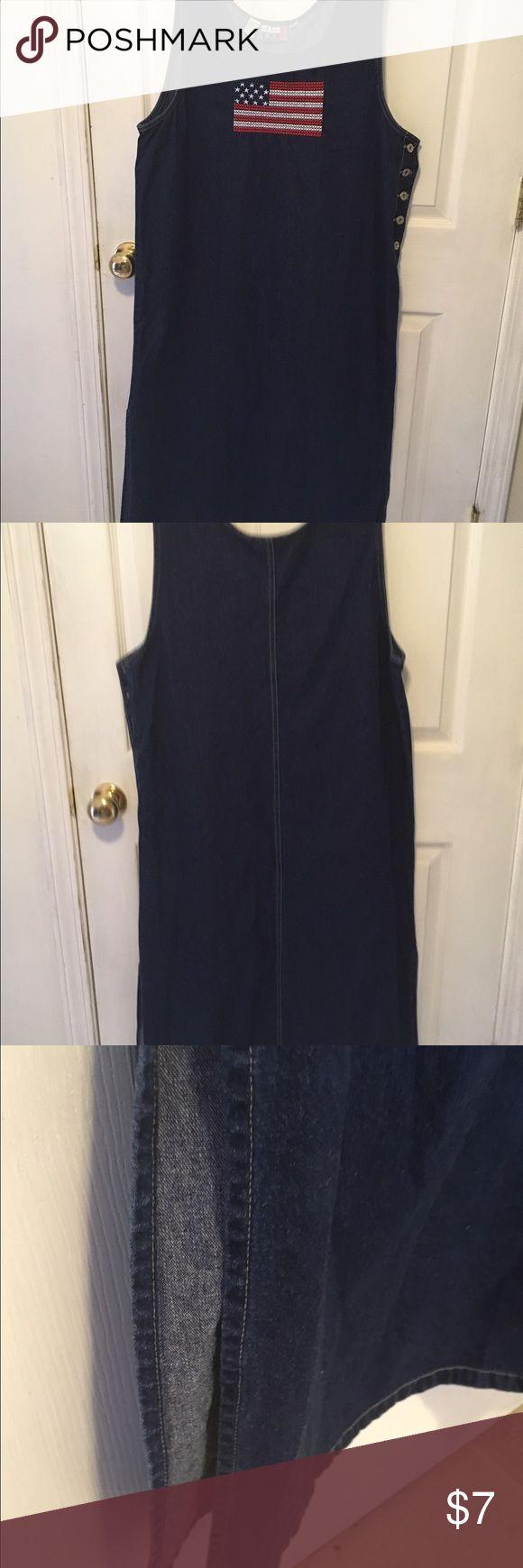 Blue denim dress Blue denim dress with side splits Dresses