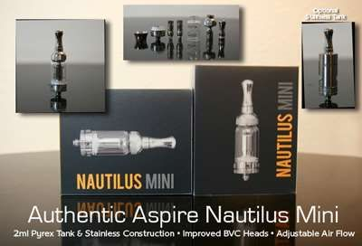 Aspire Nautilus MINI BVC Glassomiser  The Aspire Nautilus MINI BVC Glassomiser has an exclusive adjustable airflow design that is revolutionary. With a simple turn of the lower ring, you have four options to adjust airflow to meet different requirements for vaping.