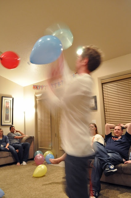 Game idea: try to keep three ballons from falling to the ground for one minute. I like this better than the ballon stomping. No mess.