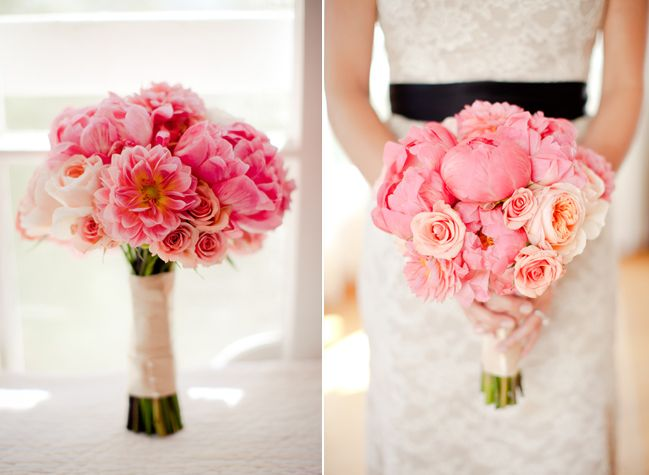 Coral Peony Bouquet With Roses Zinnias