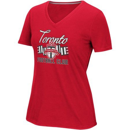 MLS-Toronto FC-Women's Middle Logo Scarf Tee, Size: Small, Red