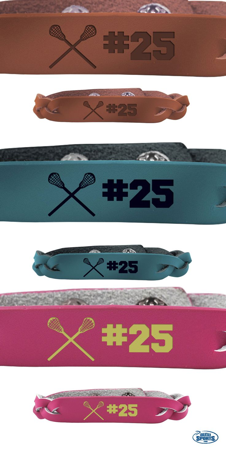 Our custom lacrosse bracelets work great as a team or player gift. Choose between 3 different colors and customize with cool addition such as player names, numbers, or team names! And with group discounts available, the entire team will be happy!