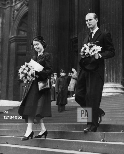 Queen Elizabeth II and the Duke of Edinburgh, carrying their traditional posies, leave St Paul's Cathedral after the Royal Maundy Service. The newly-minted Maundy coins are the first to bear the Queen's effigy. The service is usually held in Westminster Abbey but Coronation preparations made this impossible.